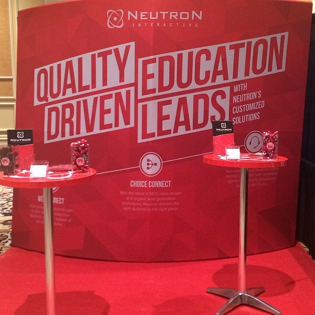 Check out our sweet booth at Leadscon West! Neutron RED! #neutroninteractive